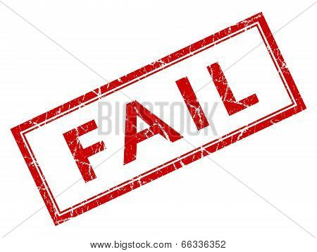 Fail Red Square Grungy Stamp Isolated On White Background