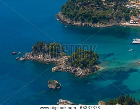 Aerial view on the village of Parga Greece - Shot from Helicopter
