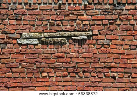 Pattern and texture of old red brick wall