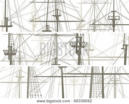 Horizontal Vector Banners Of Ship's Masts And Sailyards.