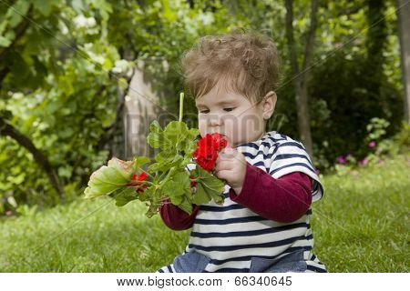 young baby girl at the garden