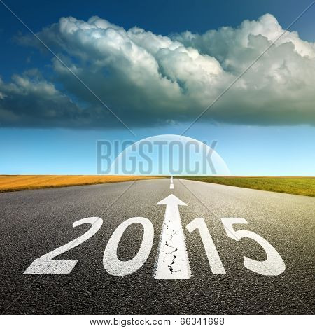 Driving On An Empty Asphalt Road  Forward To New 2015