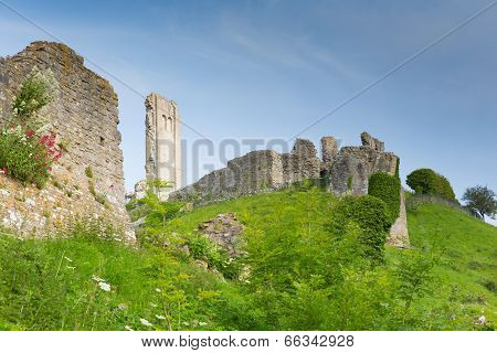 Side view Corfe Castle Isle of Purbeck Dorset England built by William the Conqueror