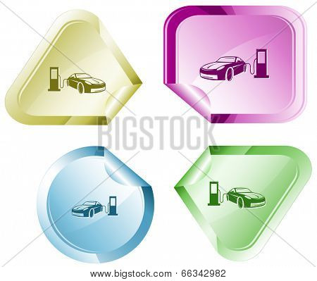 Car fueling. Vector sticker.
