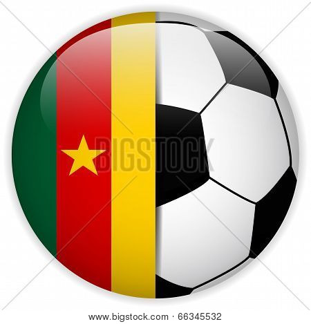 Cameroon Flag With Soccer Ball Background