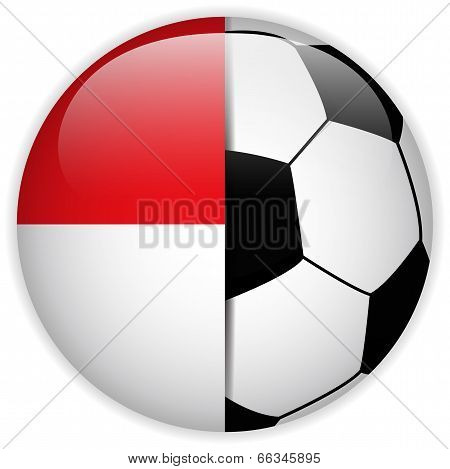 Monaco Flag With Soccer Ball Background