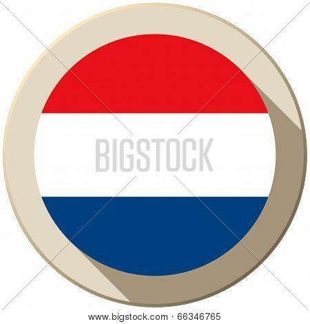 Netherlands Flag Button Icon Modern