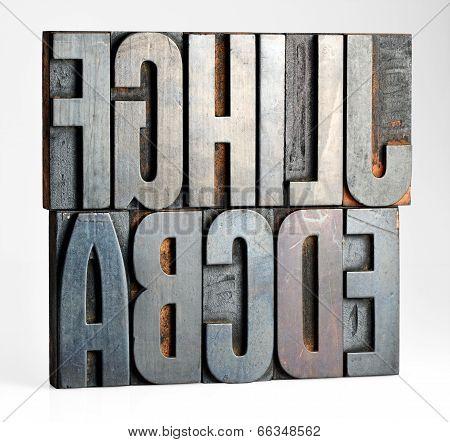 Alphabet Letters On Old Printers Blocks