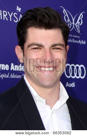 LOS ANGELES - JUN 7:  Max Greenfield at the 13th Annual Chrysalis Butterfly Ball at Private Mandeville Canyon Estate on June 7, 2014 in Los Angeles, CA