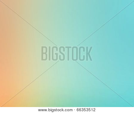 Abstract illustration background texture of light bright orange, red and blue gradient wall, flat floor, sides from metal in empty spacious room interior