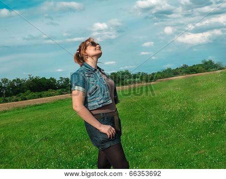 Spring Meadow Woman Enjoying Nature
