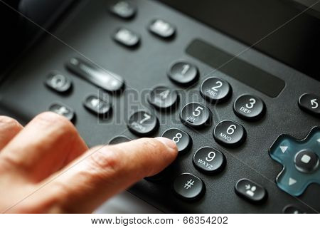 Dialing telephone keypad concept for communication, contact us and customer service support