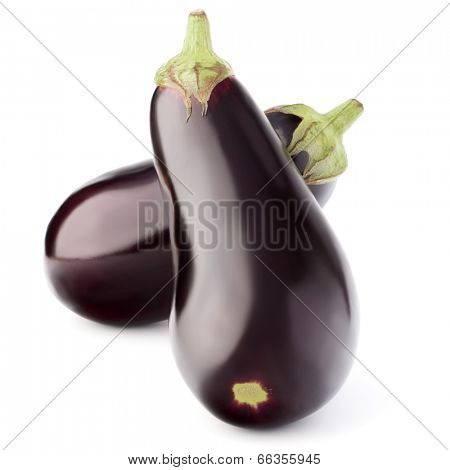Eggplant or aubergine vegetable isolated on white background cutout