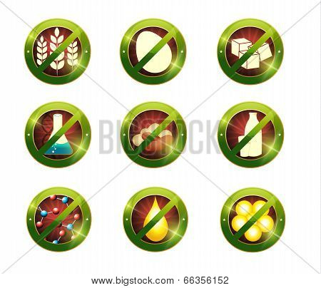 Food Intolerance Signs. Signs For Food Which Not Contain Specific Product.