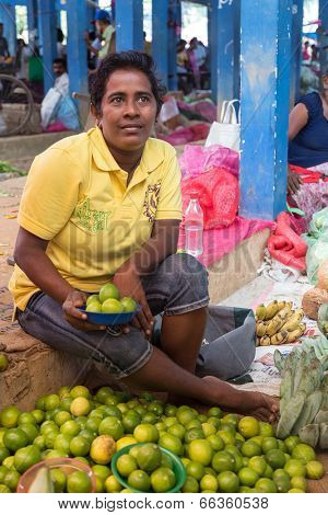 HIKKADUWA, SRI LANKA - FEBRUARY 23, 2014: Local street vendor selling lemons. The Sunday market is a fantastic way to see Hikkaduwa's local life come alive along with fresh produce and local delicacy.
