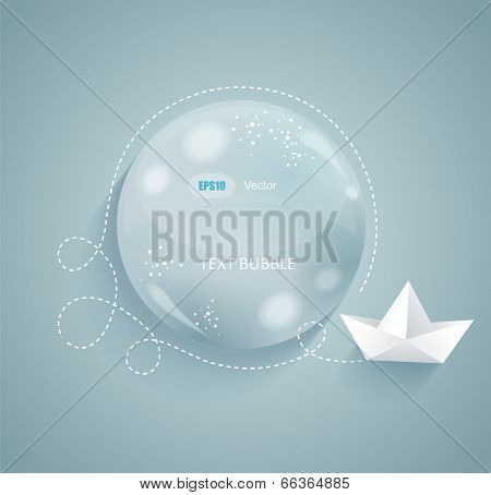 Vector Glass Bubble And Origami Paper Ship