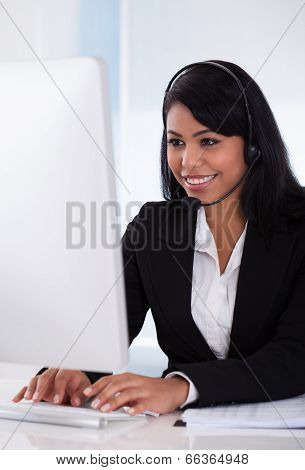 Female Customer Representative Using Computer