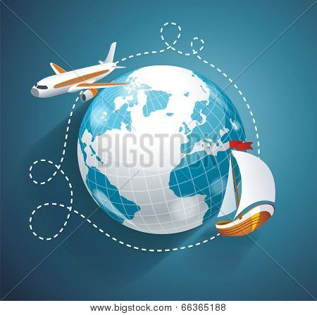 Vector Illustration Of A World Globe, An Airplane And Yacht