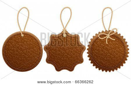 Set of brown leather label.  Isolated on white background.