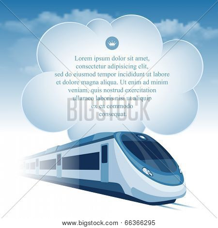 Passenger high speed train moving under the blue sky and white clouds. There is a place for your text.