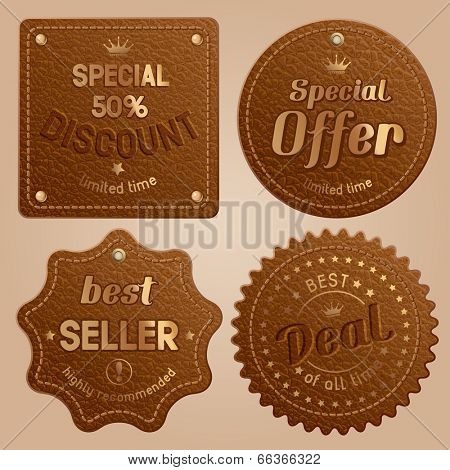 Set of brown leather label with golden rivet