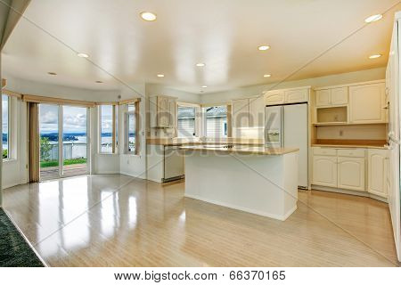 House Interior. Empty White Kitchen Room With Walkout Deck
