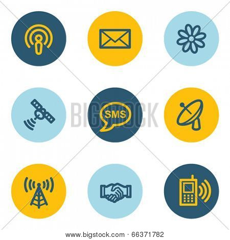 Communication web icons, blue and yellow circle buttons