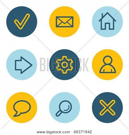 Basic  web icons, blue and yellow circle buttons