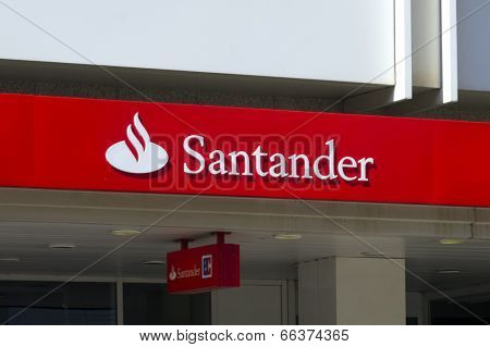 Dusseldorf, Germany - May 14, 2011: Logo at branch of Santander bank. Banco Santander is the largest bank in the Eurozone and one of the largest banks in the world in terms of market capitalisation.