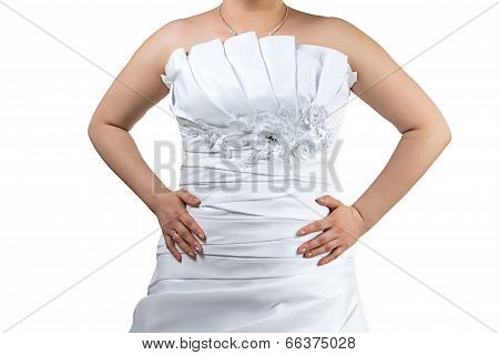 Body of  a Woman in white wedding dress