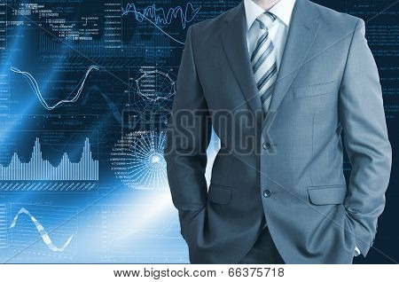 Businessman with background of graphics