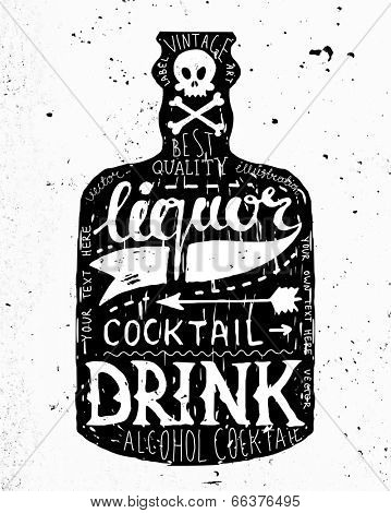 Vintage Bottle Label Design. Retro Typography Elements. Concrete Background Texture.