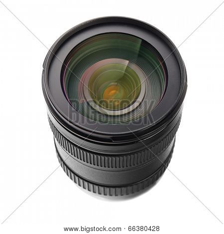 SLR camera lens isolated over white