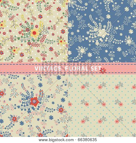 Pattern Set.flowers,branches,berries In Retro Style