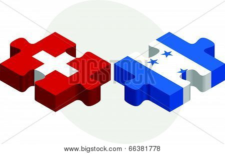 Vector illustration of Swiss and Honduras Flags in puzzle isolated on white background