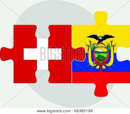 Vector illustration of Swiss and Ecuador Flags in puzzle isolated on white background