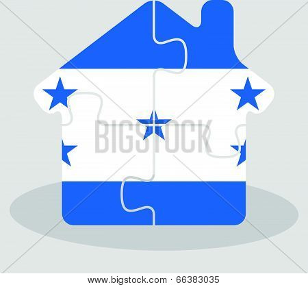 Vector illustration of house home icon with Honduras flag in puzzle isolated on white background