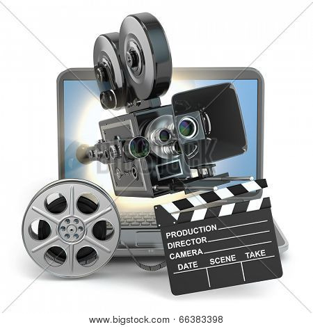 Video concept. Camera on  laptop, still reels and clapboard. 3d