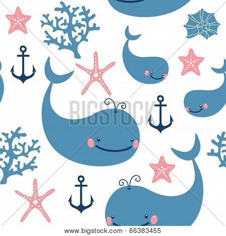 Seamless pattern with cute whales.