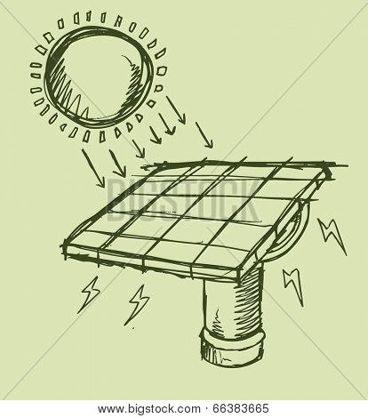 Solar Energy Sketch Vector illustration Art