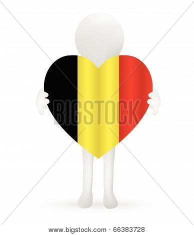 EPS Vector 10 - small 3d man holding a Belgian Flag