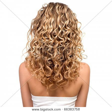 Beauty girl with blonde curly hair. Healthy and long Blond Wavy hair. Long permed hair. Beautiful young woman. Backside. Rear view