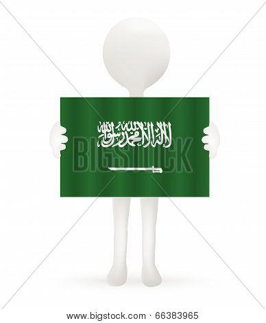 EPS Vector 10 - small 3d man holding a Saudi Arabian Flag