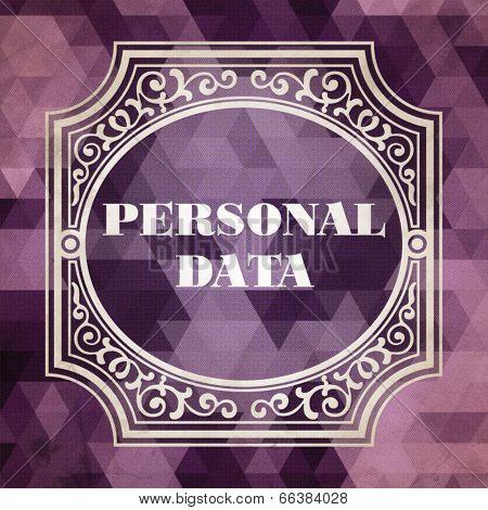 Personal Data Concept. Purple Vintage design.