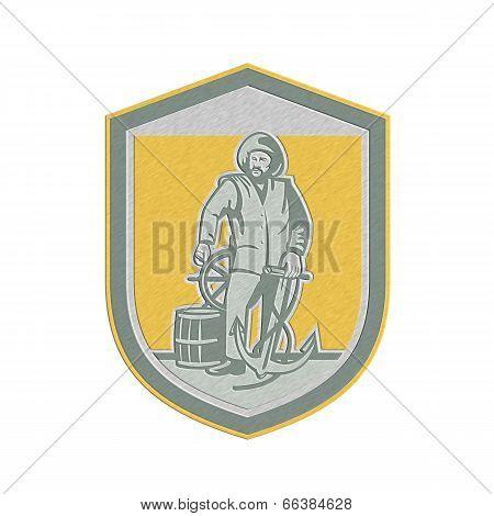 Metallic Fisherman Holding Anchor Wheel Shield Retro