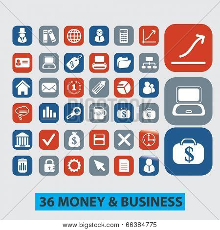 36 money, finance, business icons set, vector