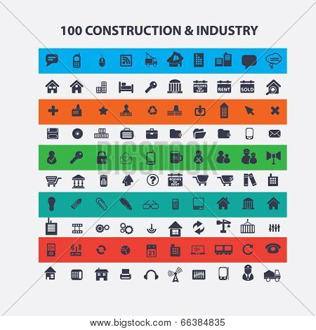 100 construction, industry, architecture, business, logistics icons set, vector