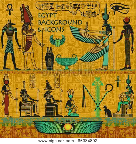 Set of Ancient Egyptian Deities, with Gold Egyptian Background, with Hieroglyphs - Set includes Isis, Osiris, Anubis, Hathor, Horus and Ra, winged scarabs, ankh, canopic jar and pharaoh symbols