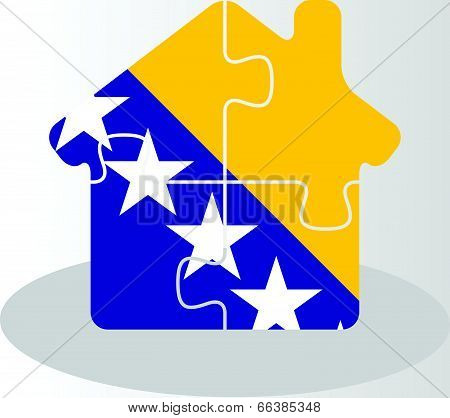 Vector illustration of house home icon with Bosnia Herzegovinan flag in puzzle isolated on white bac