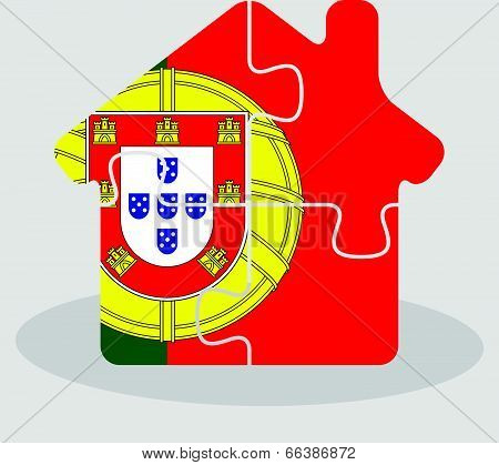 house home icon with Portuguese flag in puzzle isolated on white background